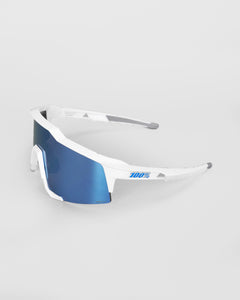 100% Speedcraft Matte White - HiPER Blue Multilayer Mirror Lens