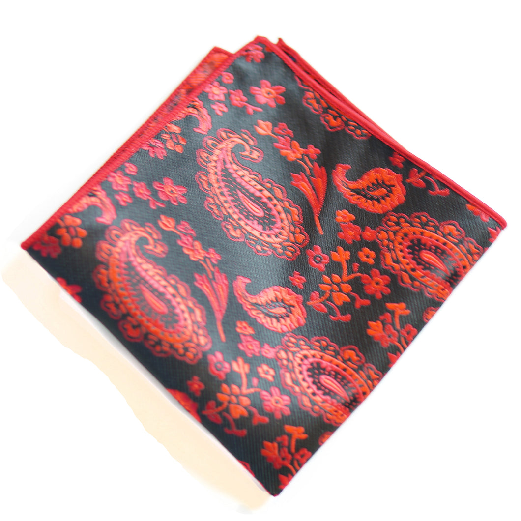Paisley Pockets - Black And Red