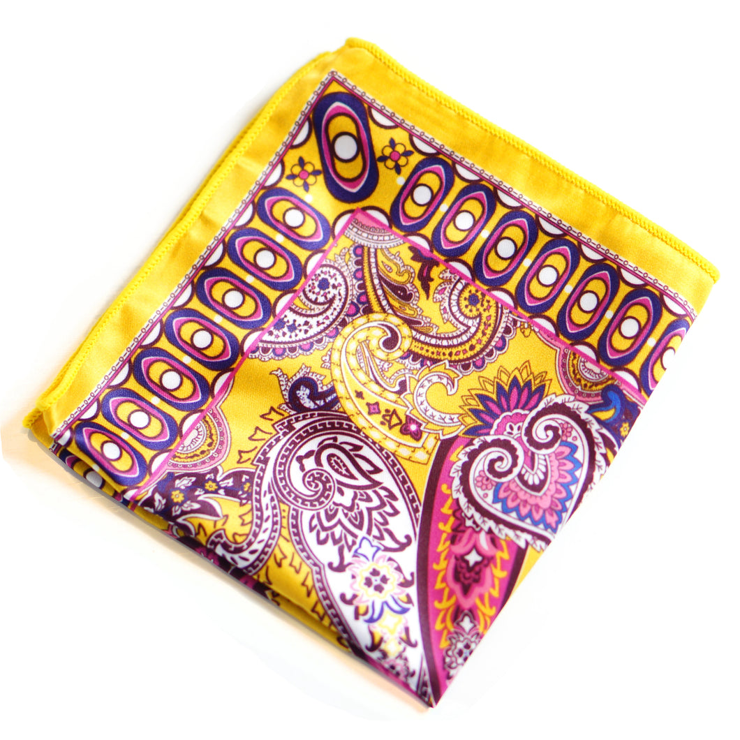 Paisley Pockets - Yellow, Purple And White
