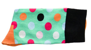 Sox - Pastel Green And Multicoloured Polka Dot