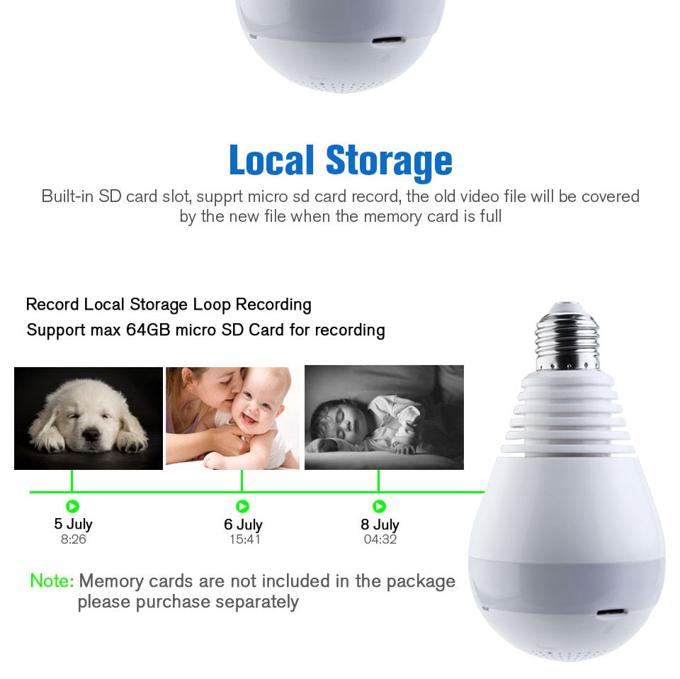 960P 360 Degree Wireless IP Camera Bulb Light FishEye with 64 GB SD Card Gift