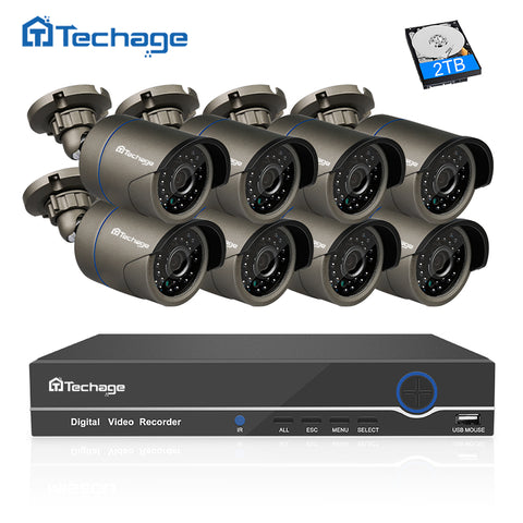 Techage 8CH 1080P HDMI POE NVR Kit CCTV Camera System