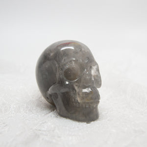 "Rare 2"" Quartz with Graphite Realistic Skull"