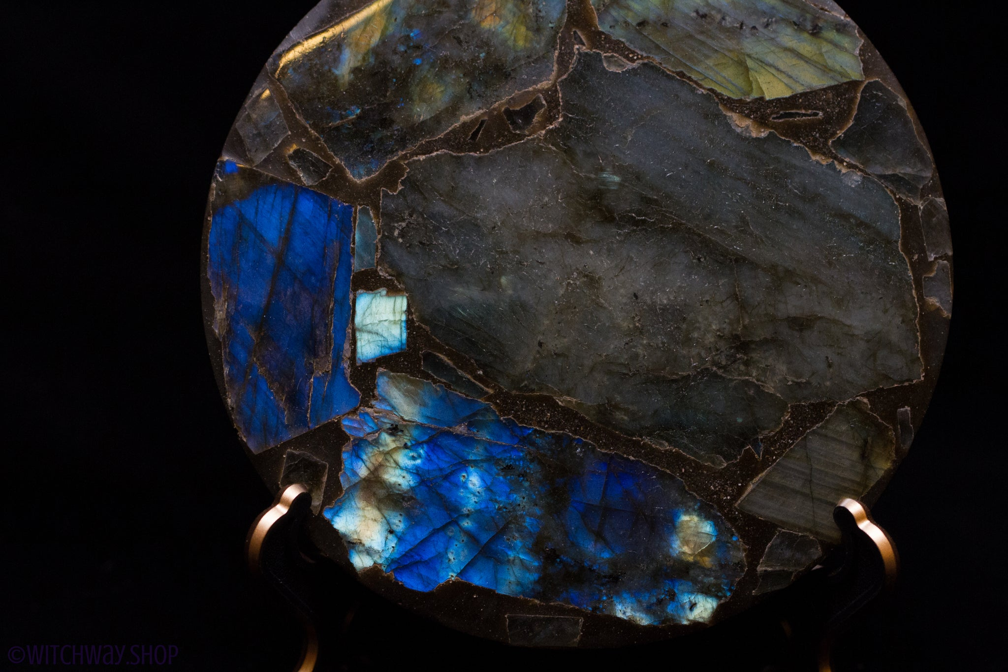 "4.5"" Round Labradorite Plate with Stand"