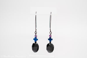 Black Agate, Hematite & Amethyst Black Wire Earrings