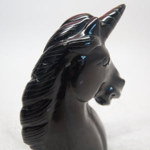 "5"" Black Obsidian Hand-carved Unicorn Bust"
