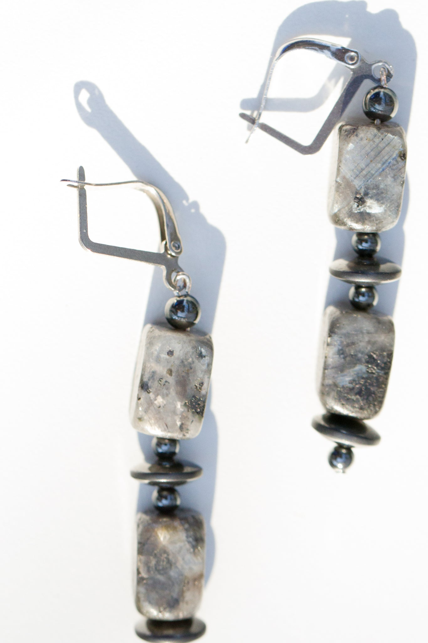 Labradorite and Magnetic Hematite Stone Earrings with Locking Stainless Steel Leverback Hooks