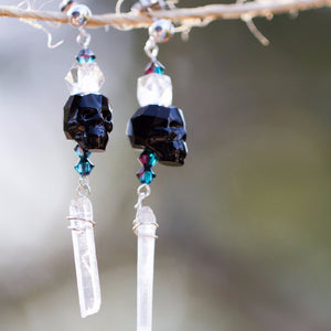 Swarovski Skull & Wire-wrapped Quartz Point Dangle Earrings | Sterling Silver .925 Post