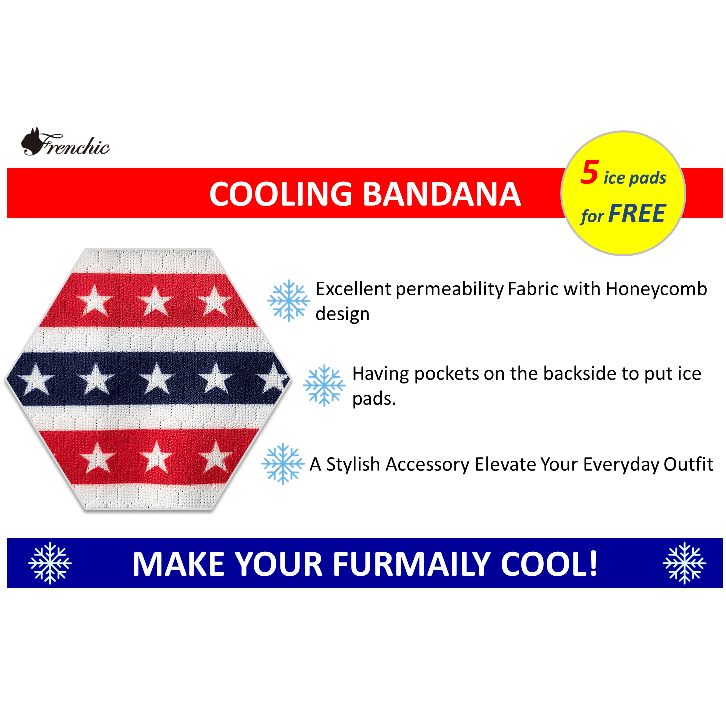 Americana Stars and Stripes Cooling NECK bandanna with pockets for ice pad Frenchic