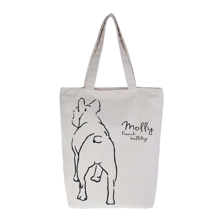 French bulldog back body Big Canvas Bag for lunch or walking Organic color - Frenchic