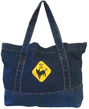French Bulldog Denim WTF What The Fart Blue Tote Bag can Put A4 Magazine or documents: Pet Supplies