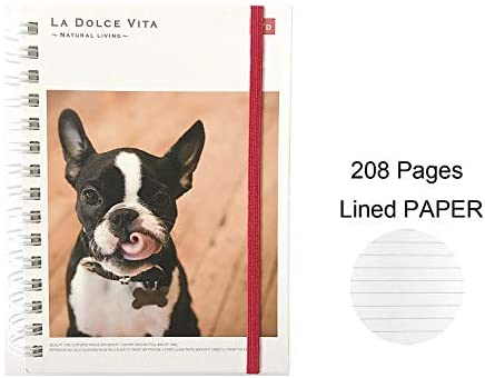 French Bulldog Twin Ring Notebook A6 Notebook Journal Agenda : Office Products