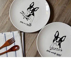 French Bull Dog Bully small plate saucer Pet 4 designs bone rabbit socks crown For You Frenchic