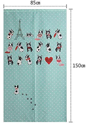 Japanese Noren Doorway Lake Blue Curtain Tapestry with French Bulldog and Paris Eiffel Tower in France with Afternoon Tea Green: Home & Kitchen