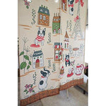 Japanese Noren Doorway Curtain Tapestry with French bulldog and Paris Eiffel Tower For You Frenchic