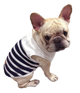 Frenchie Pet Apparel Blue White Stripped Cooling Tank T-Shirt for French Bulldog or Pug Wear For Pet Frenchic