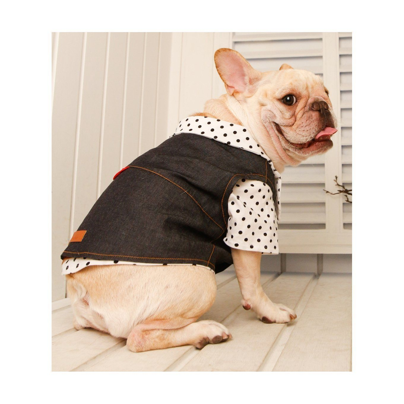 Frenchie Handmade Pet Clothing Cowboy Style Denim Vest for French Bulldog or Pug Wear For Pet Frenchic