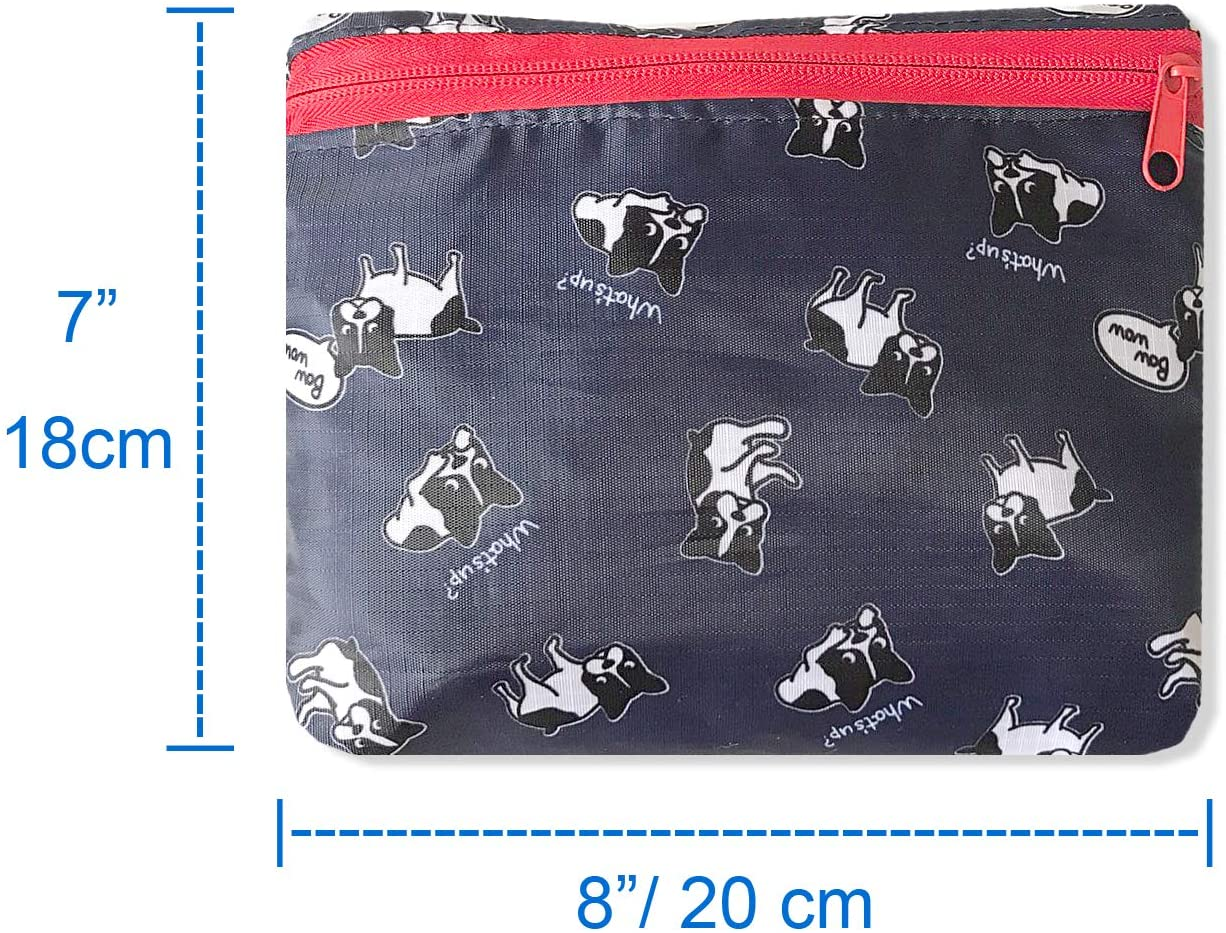 French Bulldog Foldable Travel Duffel Bag 20'' Lightweight Waterproof Travel Luggage Bag Dark Blue