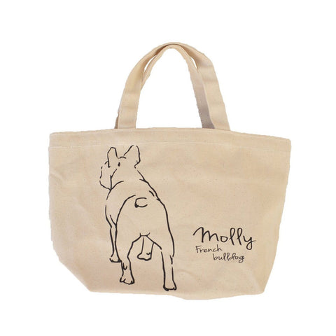 French bulldog French bulldog back body Canvas Bag for lunch or walking Organic color