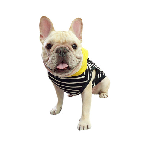 Frenchie Pet Apparel Black Stripe with Yellow Hoodie for French Bulldog or Pug Wear