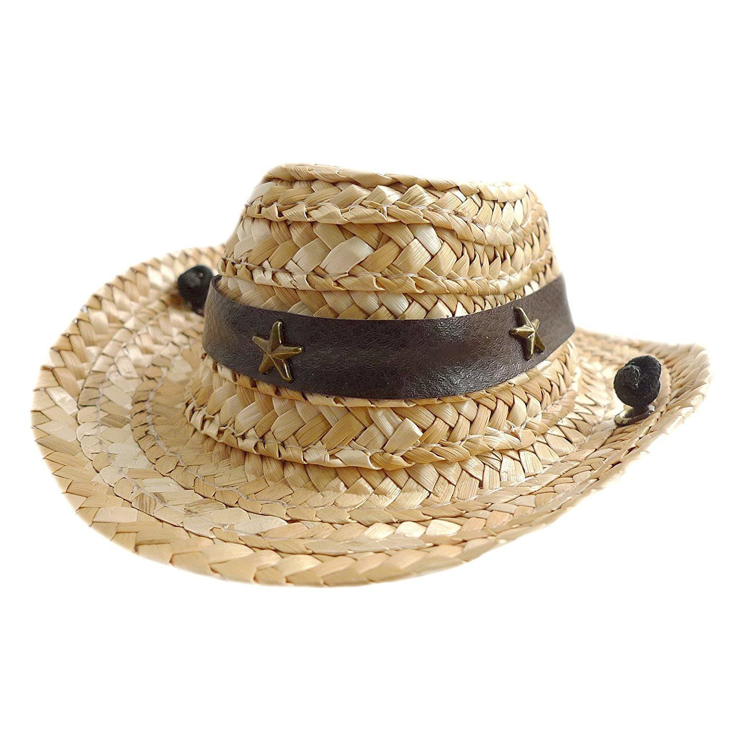 Accessory Straw Cow boy hat with Pu Leather Star rivet for Pet or Cat Use New Collection Frenchic
