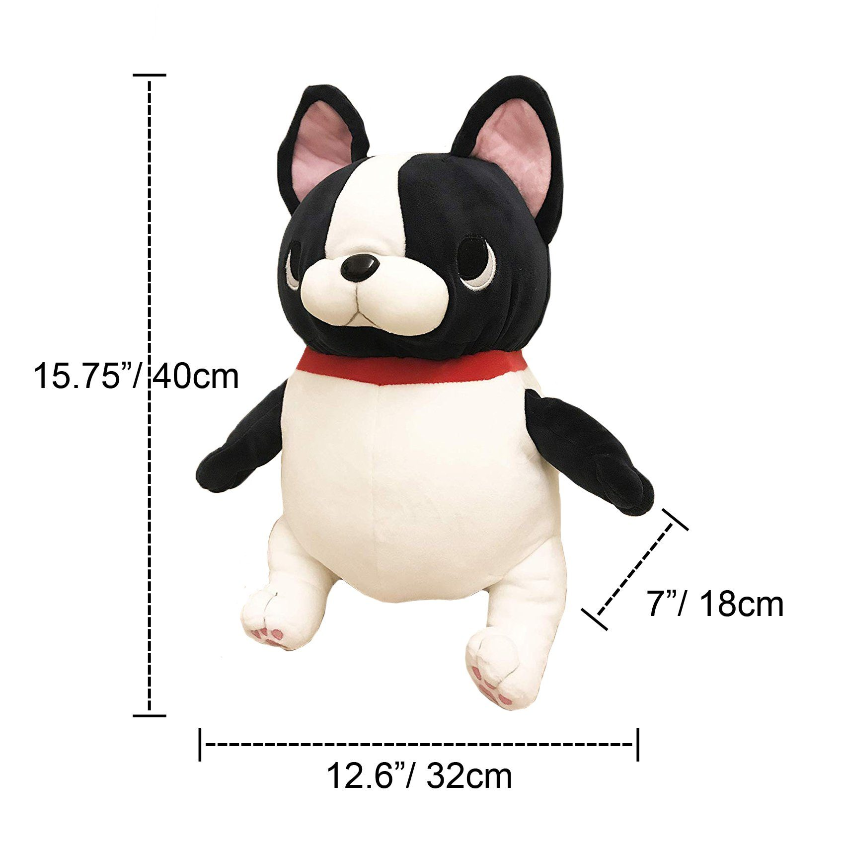 French Bulldog Stuffed Toy DOLL Black White with Red Collar Accessory Super Soft pet New Collection Frenchic