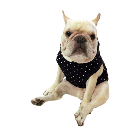 Frenchie Pet Apparel Black dot with Black Hoodie and yellow Pompon for French Bulldog or Pug Wear