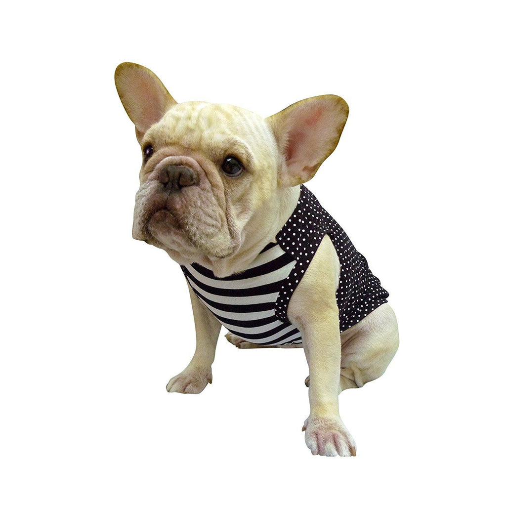 Frenchie Handmade Pet Clothing Black White Dot and Stripe for French Bulldog or Pug Wear For Pet Frenchic