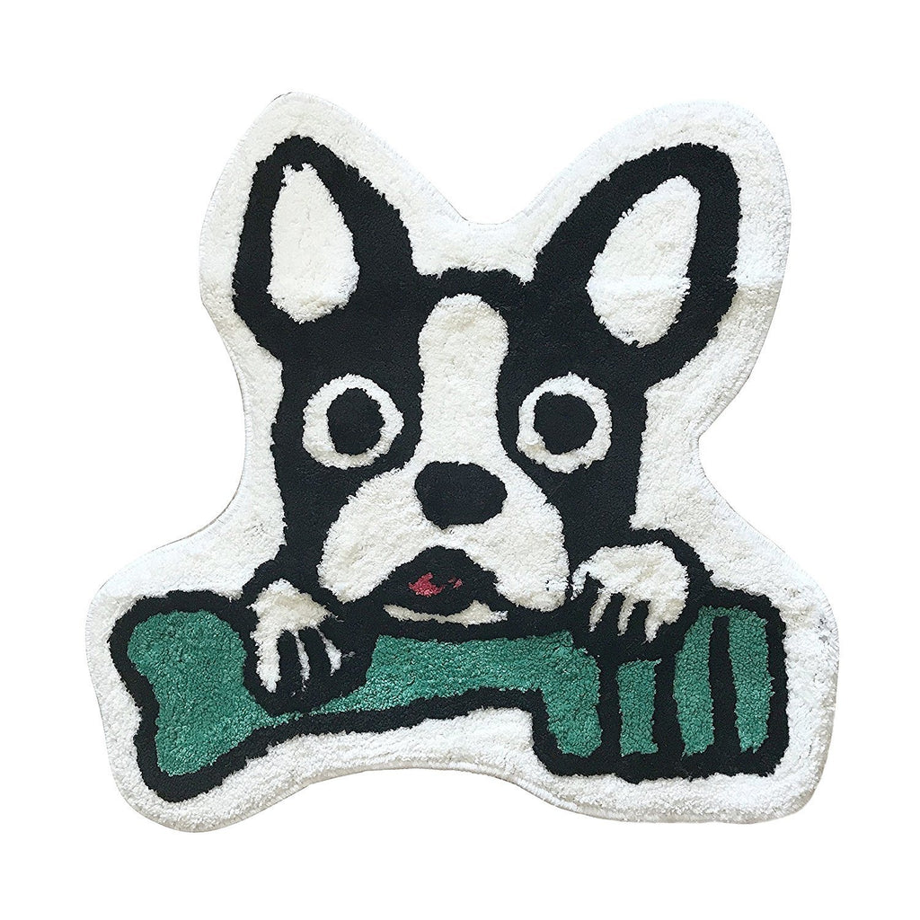 French Bulldog Black Head with Green Tooth Brush Anti-slip Entrance Door Mat Frenchic