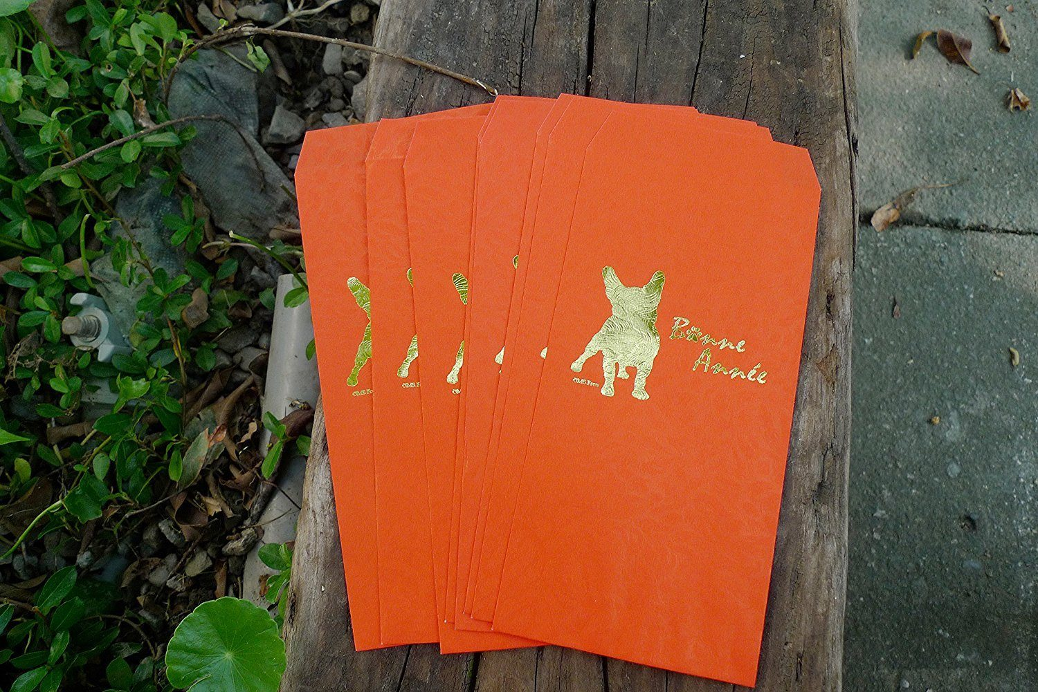 French Bulldog New Year Bone Année Lucky Red Envelope Money Packet 8 Pieces Gift Set Tooled in Gold For You Frenchic