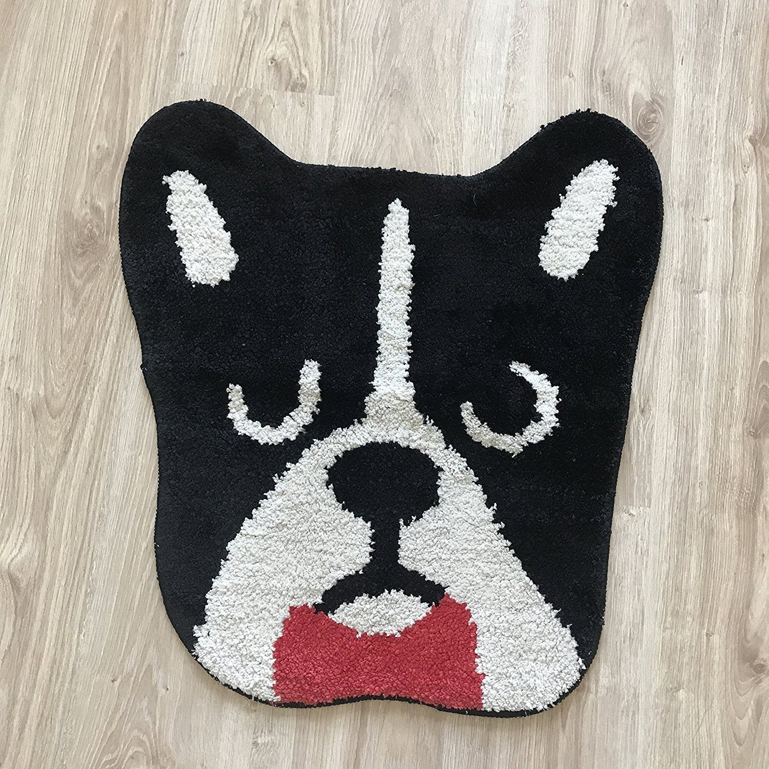 French Bulldog Black Head with Red Bow Tie Entrance Door Mat Frenchic