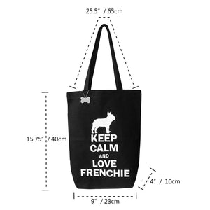 French Bulldog Black Canvas Tote Bag Keep Calm and Love Frenchie with Bone Accessory Perfect For Magazine Letter size Documents Market Shop New Collection Frenchic