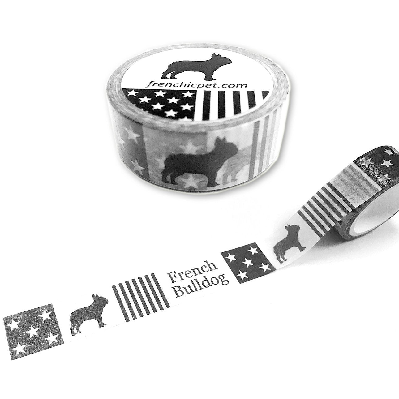 French Bulldog Masking Tape Star and Stripe Black White Classic Pattern Decoration Paper Craft Card Washi Paper Material Frenchic