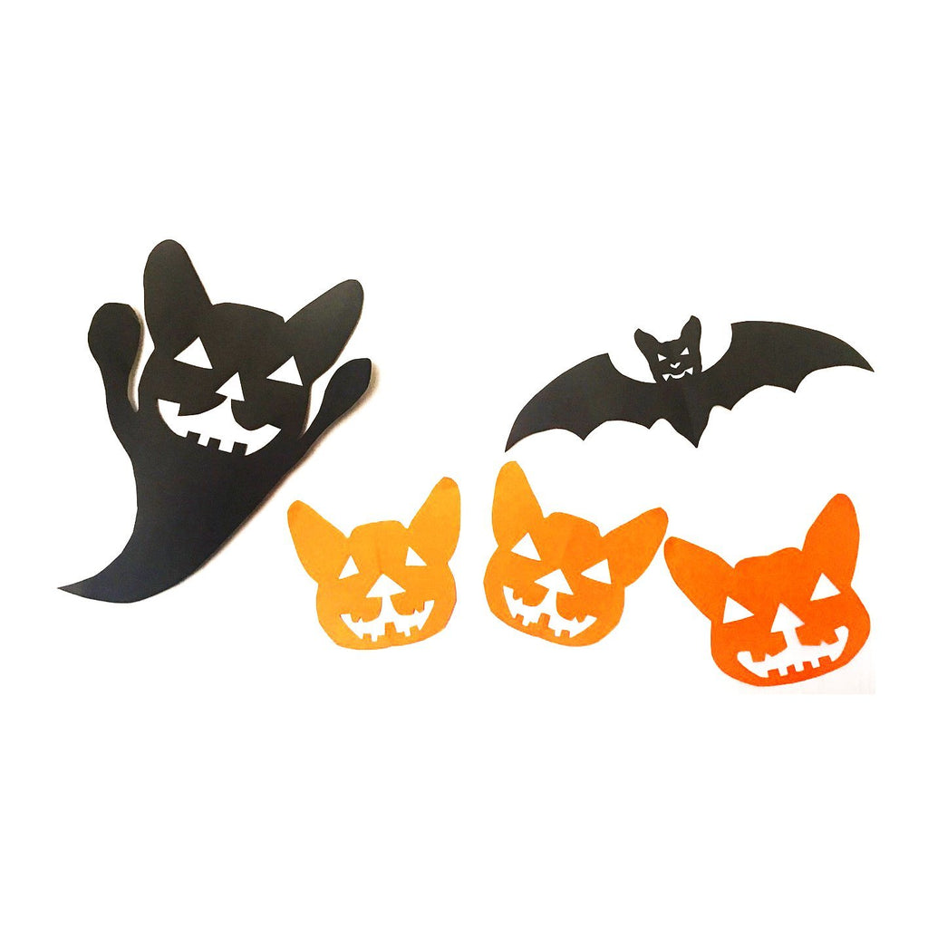 3 Designs Halloween French Bulldog motif Pumpkin Bat Ghost printable PDF pattern Template for Decor Paper Cut Craft Original Design DIY For You Frenchic