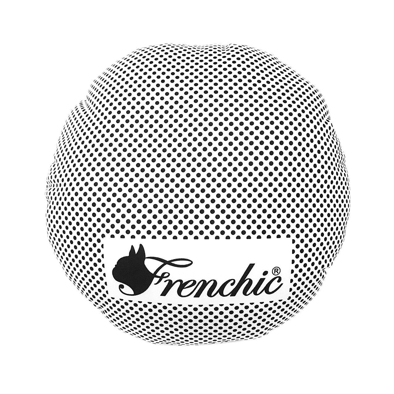 French Bulldog Small Round Cushion 34cm x 34 cm Black and White Dot with Sublimation Cover (No inner bag) Home Decor New Collection Frenchic