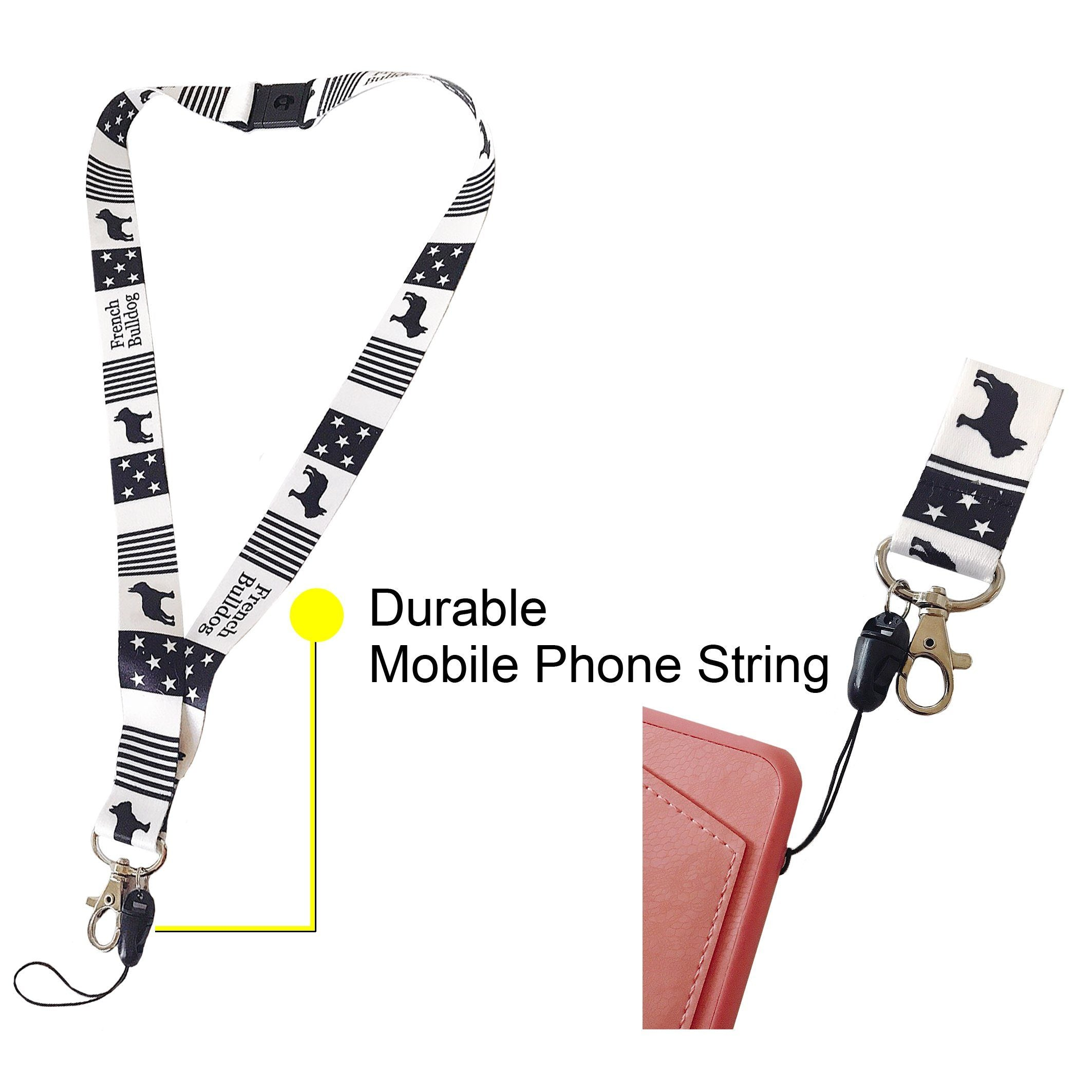 "Frenchic French Bulldog Fabric Lanyard Neck Strap with Safety Breakaway Clip Black Stars and Stripe Wide 1"" for ID Card Mobile Phone Badge Holder, Frenchic"