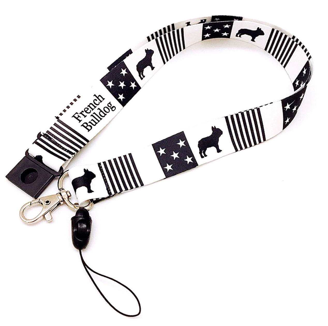 "Frenchic French Bulldog Fabric Lanyard Neck Strap with Safety Breakaway Clip Black Stars and Stripe Wide 1"" for ID Card Mobile Phone Badge Holder,"