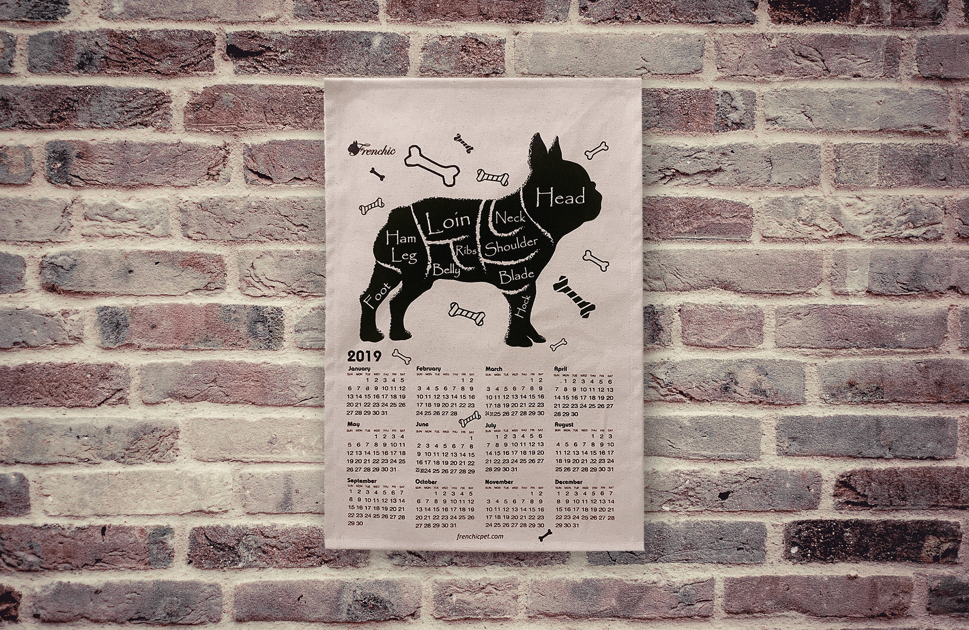 "2019 French Bulldog Wall Calendar 12"" x 18"" Black Silk Print on Cotton Canvas Fabric For You Frenchic"
