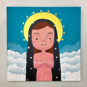 Pink Mary with a Veil of Stars original acrylic painting