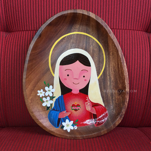Immaculate Heart of Mary with Lilies original acrylic painting