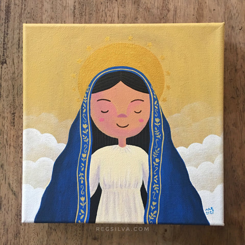 Majestic Mary Among the Clouds original acrylic painting