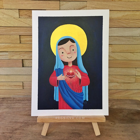 Blue Immaculate Heart original acrylic painting
