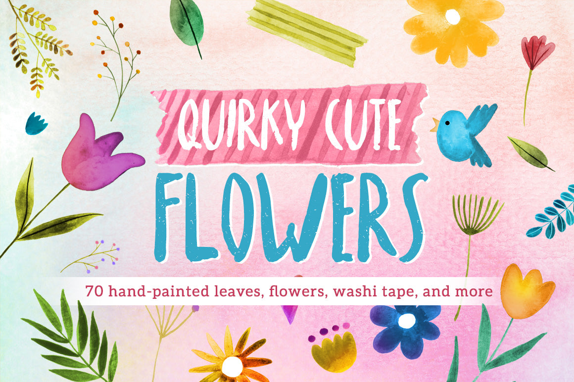 Quirky Cute Flowers graphics pack