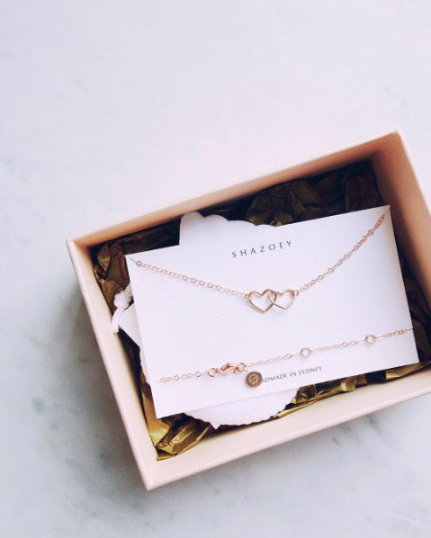 interlocked hearts necklace in rose gold custom design shazoey