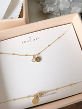 Aquamarine gold initial necklace handmade by SHAZOEY Australia