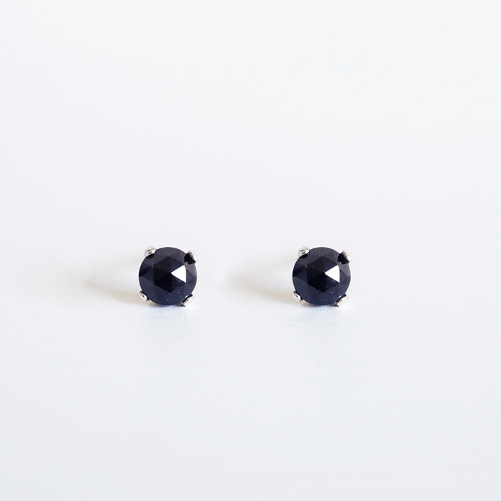 Black melanite garnet 4mm sterling silver stud earrings shazoey