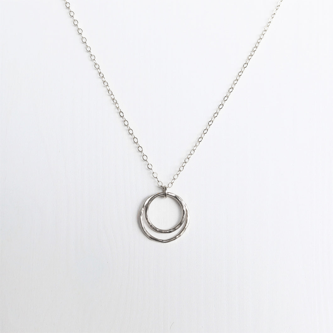 Eclipse Double Circle Necklace . Sterling Silver