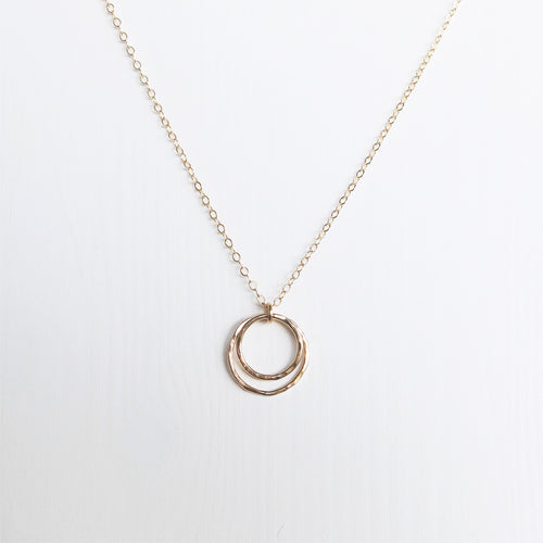 Eclipse double circle necklace gold shazoey