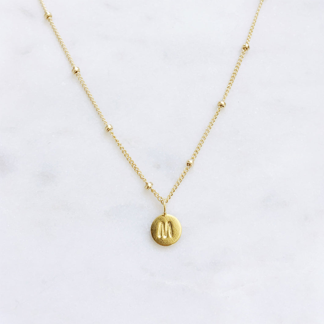 Initial Necklace . Gold