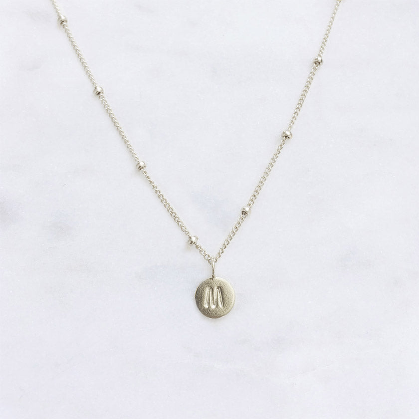 Initial Necklace . Sterling Silver